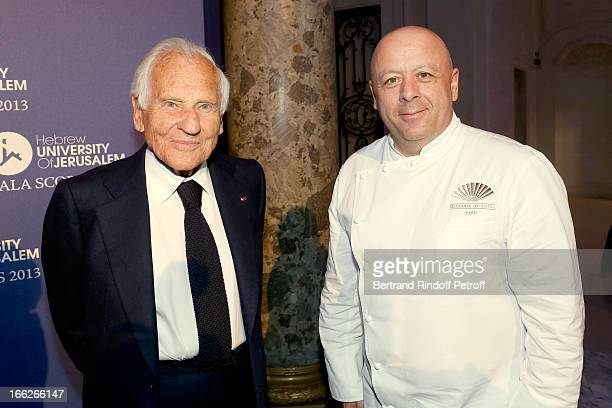 Laureat 2013 Jean d'Ormesson and Chef of the Gala Thierry Marx attend 'Scopus Awards 2013' Taste of Knowledge at Espace Cambon Capucines on April 10...