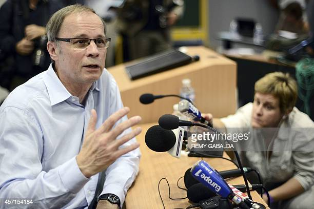 Laureate of the 2014 Nobel Prize in Economics French economist Jean Tirole speaks during a press conference at the Toulouse School of Economics on...