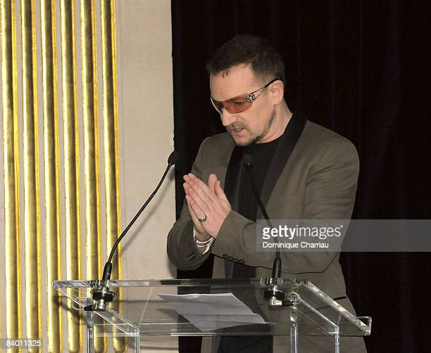 Laureate of the peace summit Award 2008 lead Singer of U2 Bono gives a speech during the 9th Nobel Peace Prize World Summit at the Hotel de Ville on...