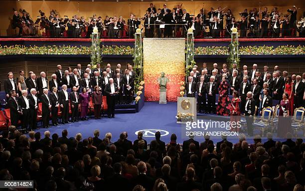 Laureates and guests are pictured during the 2015 Nobel prize award ceremony at the Stockholm Concert Hall on December 10 2015 The Prize ceremony for...