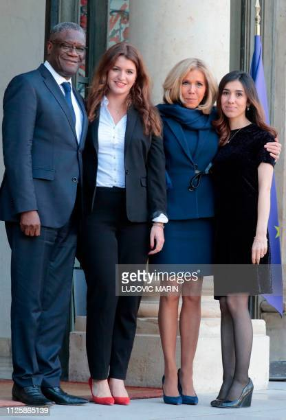 Laureates of the 2018 Nobel Peace Prize Congolese Doctor Denis Mukwege and Iraqi Yazidi activists Nadia Murad pose upon their arrival with French...