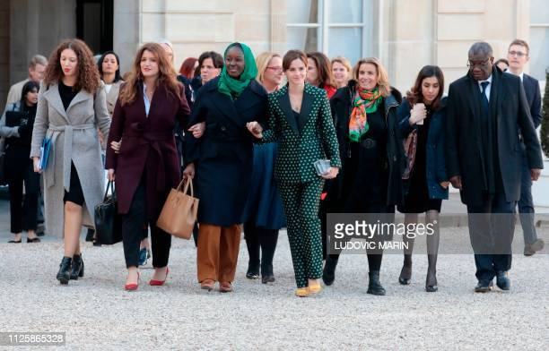 Laureates of the 2018 Nobel Peace Prize Congolese Doctor Denis Mukwege and Iraqi Yazidi activist Nadia Murad speak as they walk with French Junior...