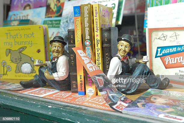 Laurel and Hardy figurines in the local book shop's window in Clonakilty Clonakilty Co Cork Ireland on Friday 25 March 2016