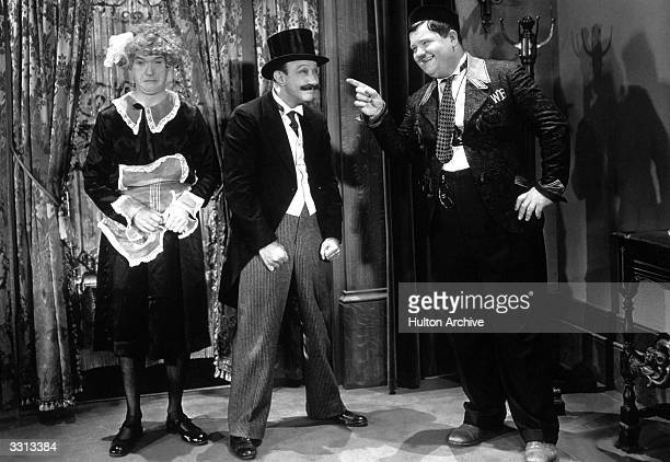Laurel and Hardy pictured in a still from their film 'Another Fine Mess'