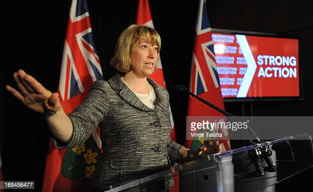 Laurel Broten Minister of Education speaks to media about the status of labour negotiations between teachers and the government at Mowat Block 900...