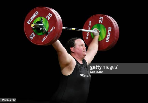 Laurel Hubbard of New Zealand competes in the Women's 90kg Final during the Weightlifting on day five of the Gold Coast 2018 Commonwealth Games at...