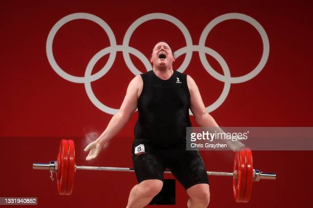 Laurel Hubbard of Team New Zealand competes during the Weightlifting - Women's 87kg+ Group A on day ten of the Tokyo 2020 Olympic Games at Tokyo...