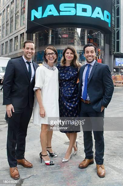 Laurel Pinson Cynthia Rowley Ari Goldberg and David Goldberg ring closing bell at NASDAQ MarketSite on September 12 2013 in New York City