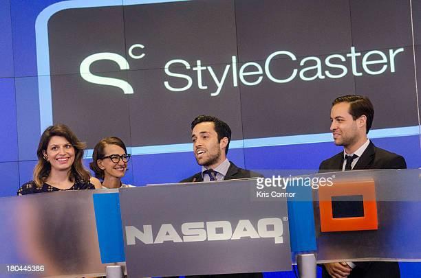 Laurel Pinson Cynthia Rowley Ari Goldberg and David Goldberg rings closing bell at NASDAQ MarketSite on September 12 2013 in New York City