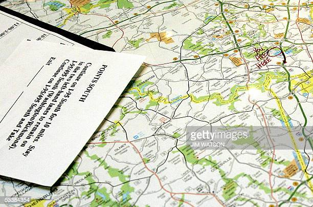 Laurel, UNITED STATES: A map at a Laurel, Maryland, rest stop 13 August advises travellers how to avoid a seven-mile , two-hour jam caused by...