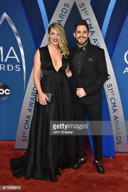 Lauren Akins and singersongwriter Thomas Rhett attends the 51st annual CMA Awards at the Bridgestone Arena on November 8 2017 in Nashville Tennessee