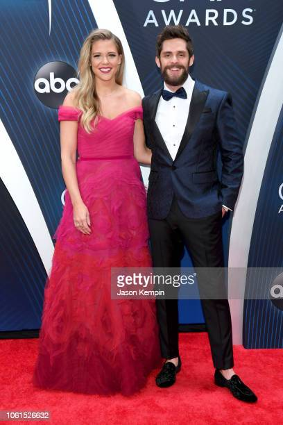 Lauren Akins and singersongwriter Thomas Rhett attends the 52nd annual CMA Awards at the Bridgestone Arena on November 14 2018 in Nashville Tennessee