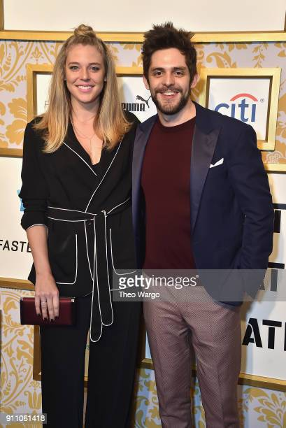 Lauren Akins and Thomas Rhett attend Roc Nation THE BRUNCH at One World Observatory on January 27 2018 in New York City