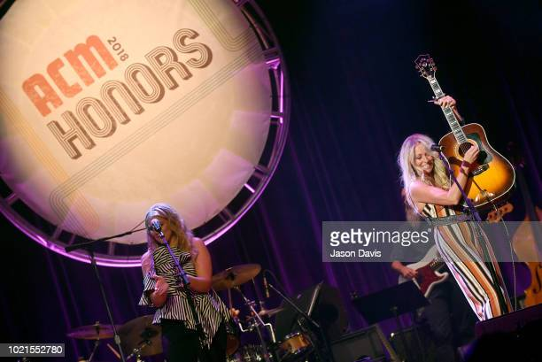 Lauren Alaina and Deana Carter perform onstage during the 12th Annual ACM Honors at Ryman Auditorium on August 22 2018 in Nashville Tennessee