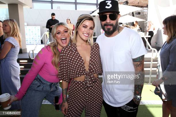 Lauren Alaina Cassadee Pope and AJ McLean attend the ACM Lifting Lives TOPGOLF TeeOff at TOPGOLF on April 06 2019 in Las Vegas Nevada