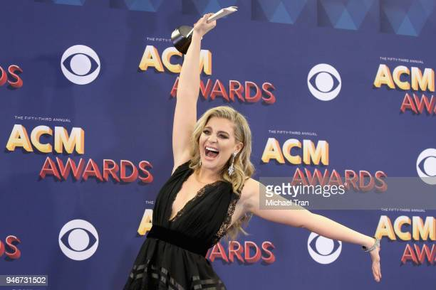 Lauren Alaina poses in the press room with the award for New Female Vocalist of the Year during the 53rd Academy of Country Music Awards at MGM Grand...