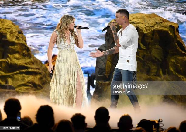 Lauren Alaina winner of the New Female Vocalist of the Year award and Kane Brown perform onstage during the 53rd Academy of Country Music Awards at...