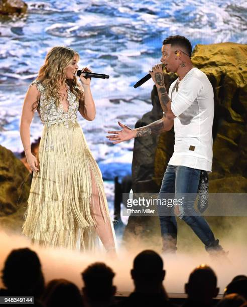 Lauren Alaina winner of the New Female Vocalist of the Year award and Kane Brown perform during the 53rd Academy of Country Music Awards at MGM Grand...