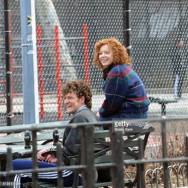 Lauren Ambrose and Gabriel Ebert on the set of the pilot 'The Interestings' on March 2 2016 in New York City