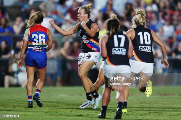 Lauren Arnell of the Blues celebrates a goal during the round four AFLW match between the Western Bulldogs and the Carlton Blues at Whitten Oval on...