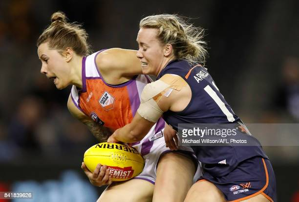 Lauren Arnell of Victoria tackles Bianca Jakobbson of the Allies during the AFL Women's State of Origin match between Victoria and the Allies at...