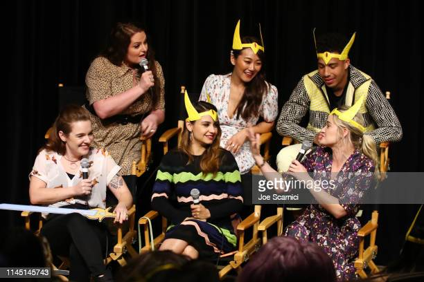 "Lauren Ash, Karen Fukuhara and Marcus Scribner and Noelle Stevenson, Aimee Carrero and AJ Michalka speak onstage during the DreamWorks ""She-Ra and..."