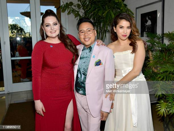 Lauren Ash, Nico Santos, and Nichole Bloom attend the 30th Annual GLAAD Media Awards Los Angeles at The Beverly Hilton Hotel on March 28, 2019 in...