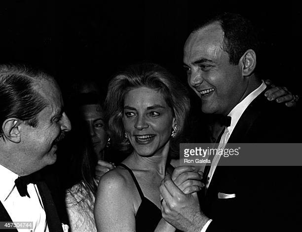 Lauren Bacall and David Merrick attend 21st Annual Tony Awards Party on March 26 1967 at Sardi's Restaurant in New York City