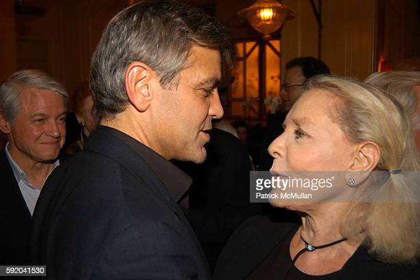Lauren Bacall and George Clooney attend Walter Cronkite Hosts a Private Screening of Warner Independent Pictures' Good Night And Good Luck Directed...