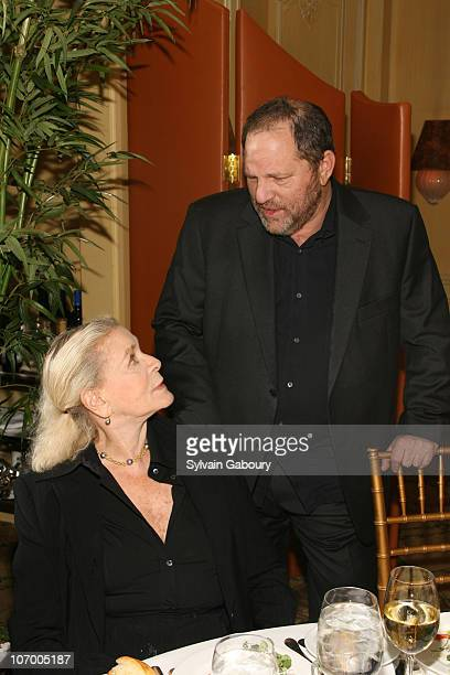 Lauren Bacall and Harvey Weinstein during Harvey Weinstein Hosts a Private Dinner and Screening of Bobby for Senators Obama and Schumer at Plaza...