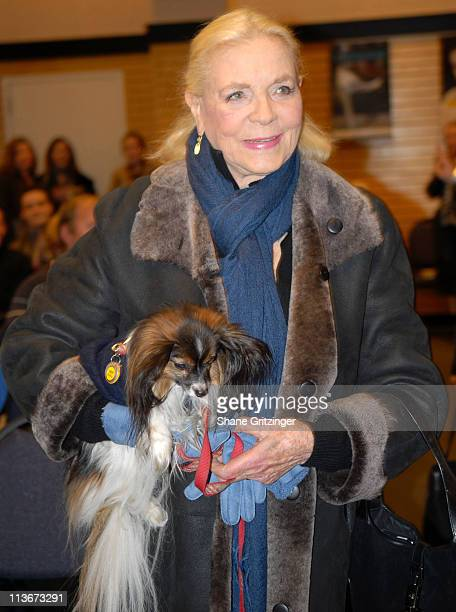 Lauren Bacall and her dog Sophie during Lauren Bacall Signs Copies Of Her Autobiography By Myself and Then Some December 6 2006 at Barnes Noble /...
