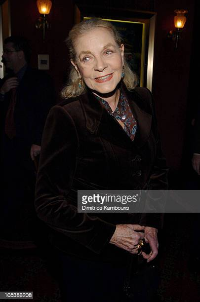 "Lauren Bacall during ""The Life Aquatic with Steve Zissou"" New York Premiere - Inside Arrivals at Ziegfeld Theater in New York City, New York, United..."