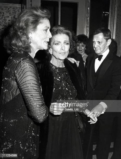 Lauren Bacall Myrna Loy Tony Randall during Gala Party Following a Tribute to Miss Loy at Carnegie Hall at Waldorf Hotel in New York City New York...