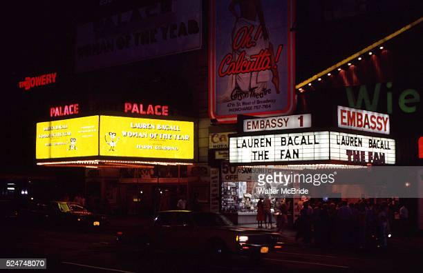 Lauren Bacall with a double Marquee 'Woman Of The Year' at The Palace 'The Fan' at Embassy 1 Movie Theatre in Times Square NYC March 1 1981