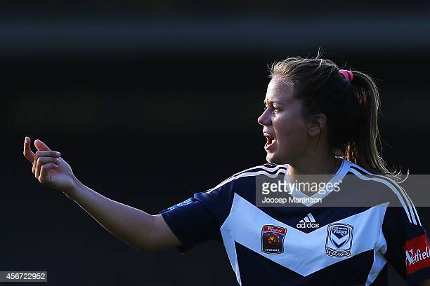 Lauren Barnes of the Victory looks on during the round four WLeague match between Sydney and Melbourne at Lambert Park on October 6 2014 in Sydney...