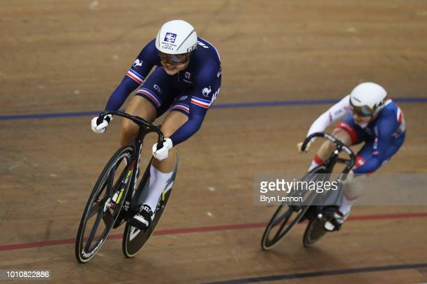 Lauren BateLowe of Great Britain and Mathilde Gros of France compete in the Sprint Women 1/8 final on Day 3 of the European Championships Glasgow...