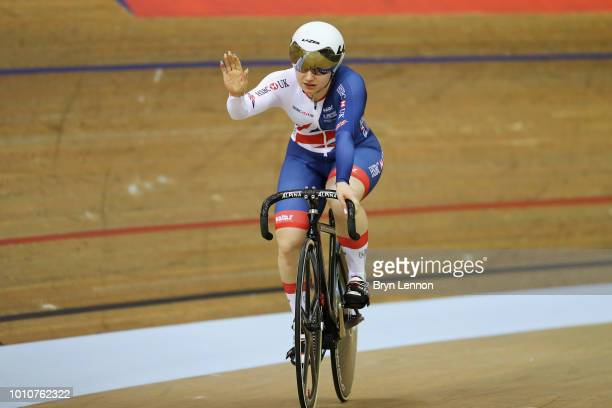 Lauren Bate-Lowe of Great Britain celebrates after she competes against Sara Kankovska of Czech Republic in the Sprint Women on Day 3 of the European...
