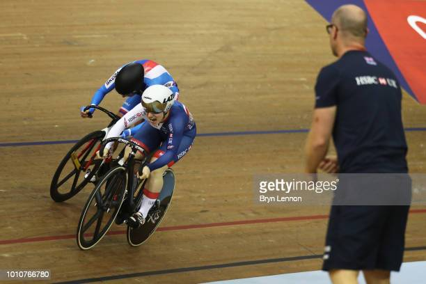 Lauren Bate-Lowe of Great Britain competes against Sara Kankovska of Czech Republic watched by Great Britain sprint coach Jan van Eijden in the...