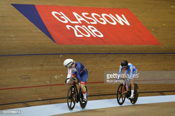 Lauren Bate-Lowe of Great Britain competes against Sara Kankovska of Czech Republic in the Sprint Women on Day 3 of the European Championships...