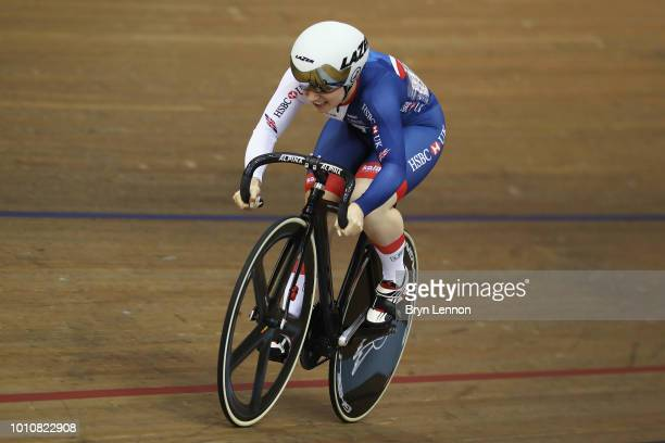Lauren BateLowe of Great Britain competes in the Sprint Women 1/8 final on Day 3 of the European Championships Glasgow 2018 in the Track Cycling at...
