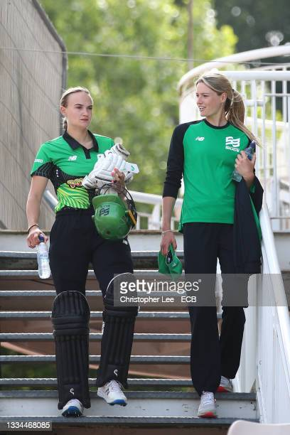 Lauren Bell and Gaby Lewis of Southern Brave during The Hundred match between Southern Brave Women and Oval Invincibles Women at The Ageas Bowl on...