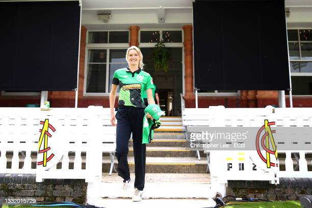 Lauren Bell of Southern Brave during The Hundred match between London Spirit Women and Southern Brave Women at Lord's Cricket Ground on August 01,...