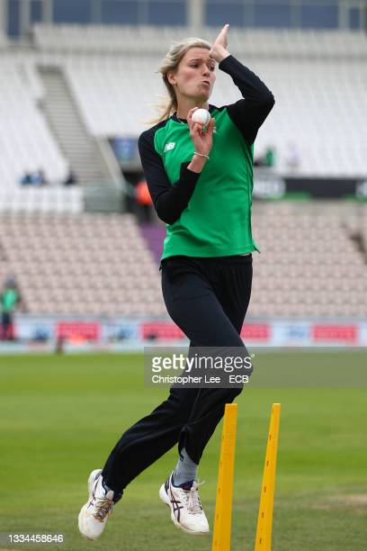 Lauren Bell of Southern Brave warms up during The Hundred match between Southern Brave Women and Oval Invincibles Women at The Ageas Bowl on August...