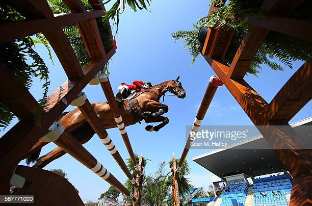 Lauren Billys of Puerto Rico riding Castle Larchfield Purdy during the eventing team jumping final and individual qualifier on Day 4 of the Rio 2016...