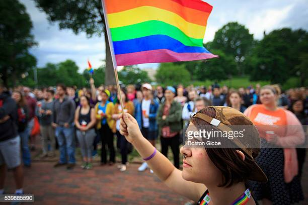 Lauren Blasetti of Medford holds a flag up during a rally on Boston Common on June 12 in solidarity with the victims of the Orlando shooting massacre...
