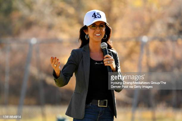 """Lauren Boebert, Republican nominee for Colorado's 3rd congressional district, make speeches in front of her supporters during """"trash clean-up"""" event..."""