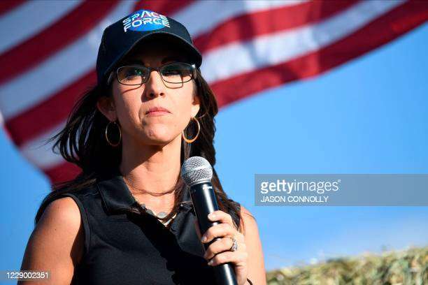 Lauren Boebert, the Republican candidate for the US House of Representatives seat in Colorado's 3rd Congressional District, addresses supporters...