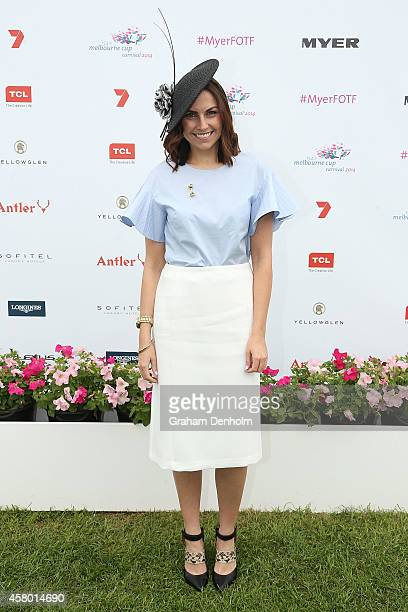 Lauren Brain poses at the Myer Fashion on the Field launch at Flemington Racecourse on October 29 2014 in Melbourne Australia