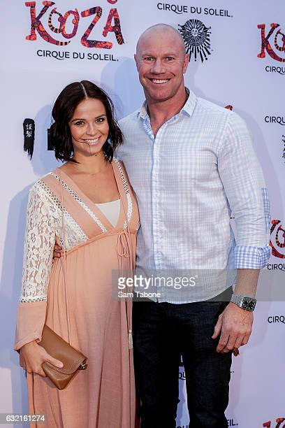 Lauren Brant and Barry hall at the Cirque Du Soleil KOOZA Melbourne Premiere at Flemington Racecourse on January 20 2017 in Melbourne Australia