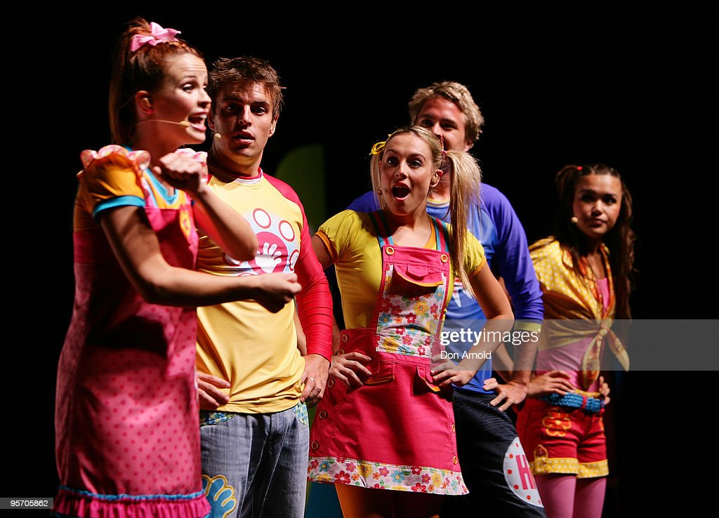 Lauren Brant, Tim Maddren, Casey Burgess, Stevie Nicholson and Fely Irvine of the new Hi-5 line-up perform a segment from their new stage show 'Hi-5 Surprise!' at the Theatre Royal on January 12, 2010 in Sydney, Australia.